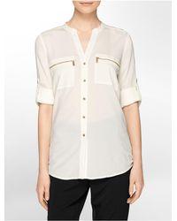 Calvin Klein | Natural Mandarin Collar Exposed Zip Detail Roll-up Sleeve Top | Lyst