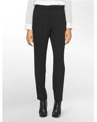 Calvin Klein   Black Straight Fit Pleated Elastic Soft Pants   Lyst