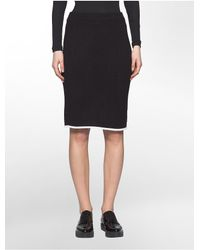 Calvin Klein | Black Contrast Trim Sweater Skirt | Lyst