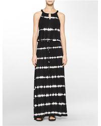 ce41c35f9b5 Lyst - Calvin Klein Tie Dye Print Keyhole Halter Maxi Dress in Black