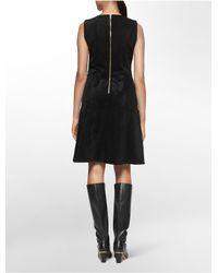 Calvin Klein - Black Ultra Suede Sleeveless Fit + Flare Dress - Lyst