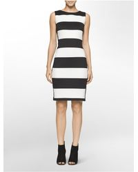 Calvin Klein - Black Wide Stripe Sheath Dress - Lyst