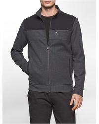 Calvin Klein | Gray Colorblock Mock Neck Zip Sweatshirt for Men | Lyst