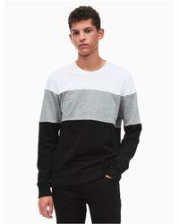 Calvin Klein   White Colorblock Logo Sweatshirt for Men   Lyst
