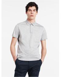 Calvin Klein | Gray Mercerized Jersey Polo Shirt for Men | Lyst
