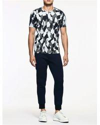 Calvin Klein - Blue Platinum Platinum Jacquard Geometric Short Sleeve Shirt for Men - Lyst