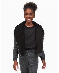 Calvin Klein - Gray Girls Sparkle Moto Sweatshirt - Lyst