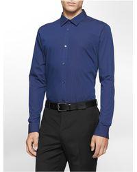 Calvin Klein | Blue Classic Fit Non-iron Ministripe Cotton Stretch Shirt for Men | Lyst