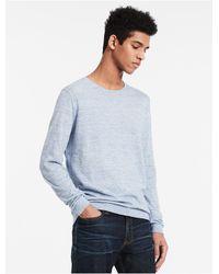 Calvin Klein | Blue Heathered Knit Sweater for Men | Lyst