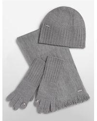 Calvin Klein | Gray Knit Hat, Tech Gloves + Scarf Set | Lyst