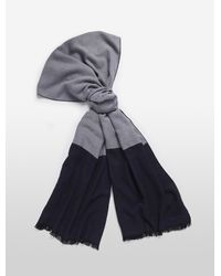 Calvin Klein - Blue Colorblock Fringed Scarf - Lyst
