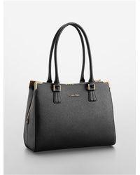 Calvin Klein | Black Textured Saffiano Leather Triple Compartment Tote Bag | Lyst