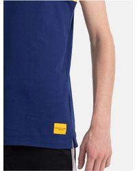 Calvin Klein Blue Regular Fit Piped Cotton Tank Top for men