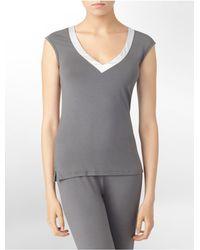 Calvin Klein | Gray Underwear Essentials Satin Trim Cap Sleeve Top | Lyst