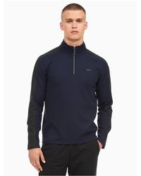 Calvin Klein | Blue Regular Fit Colorblock Quarter Zip Sweater for Men | Lyst