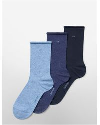 CALVIN KLEIN 205W39NYC - Blue 3-Pack Combed Cotton Rolled Cuff Crew Socks for Men - Lyst