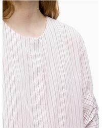 Calvin Klein White Poplin Stripe Button-front Shirt