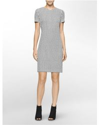 Calvin Klein - Black Houndstooth Shift Dress - Lyst