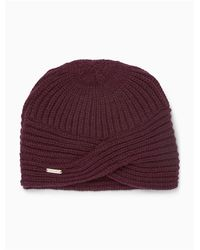 Calvin Klein - Purple Solid Ribbed Turban Hat - Lyst