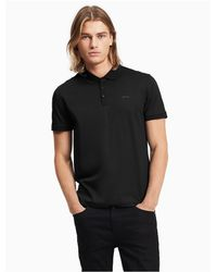 Calvin Klein - Black Classic Fit Solid Liquid Cotton Polo Shirt for Men - Lyst