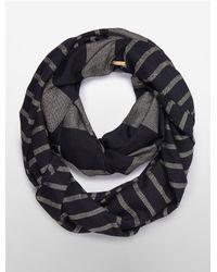 Calvin Klein - Black White Label Metallic Stripe Infinity Scarf - Lyst