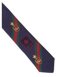 Gucci Tie In Navy Blue Silk for men