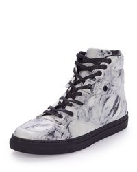 edbca811614d5 Lyst - Balenciaga Marbled-Leather High-Top Sneakers in Gray for Men