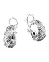 John Hardy | Metallic Carved Chain Diamond Buddha Belly Earrings | Lyst
