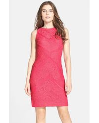 Julia Jordan | Pink Lace Sleeveless Sheath Dress | Lyst