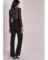 Missguided - Scallop Lace Plunge Wide Leg Jumpsuit Black - Lyst