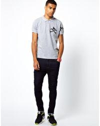 Money - Gray Polo Shirt Cross Bone Embroid Logo for Men - Lyst