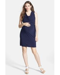 Japanese Weekend | Blue Cowl Neck Jersey Maternity/nursing Dress | Lyst