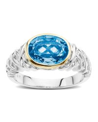 Lord & Taylor - Blue Topaz, Sterling Silver And 14k Yellow Gold Ring - Lyst
