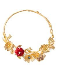 Alexander McQueen - Metallic Cherry Blossom Necklace - Lyst