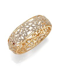Adriana Orsini | Metallic Garden Gate Pavé Crystal Bangle Bracelet/goldtone | Lyst