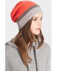 Autumn Cashmere | Red Colorblock Cashmere Hat | Lyst