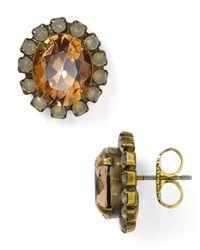 Sorrelli | Metallic Crystal Encrusted Oval Stud Earrings | Lyst