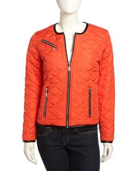 French Connection - Orange Boxy Quilted Fauxleather Trimmed Jacket Souk Sunrise Xl for Men - Lyst