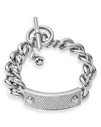 Michael Kors | Metallic Pave Plaque Toggle Bracelet | Lyst