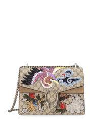 Gucci | Natural Dionysus Medium Appliquéd Coated Canvas And Suede Shoulder Bag | Lyst