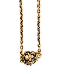 Alexander McQueen | Metallic Harness Skull Pendant Necklace | Lyst