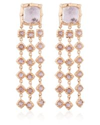Larkspur & Hawk | Purple Large Gold Pink Topaz Bella Waterfall Earrings | Lyst