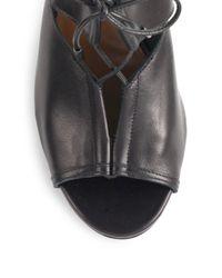 Aquazzura - Black Lace Me Up Leather Ankle Boots - Lyst