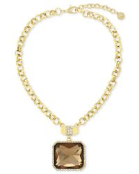 Vince Camuto - Metallic Gold-plated Champagne Stone And Pavé Crystal Pendant Necklace - Lyst