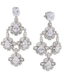Carolee | Metallic Silver-tone Crystal Chandelier Clip-on Earrings | Lyst