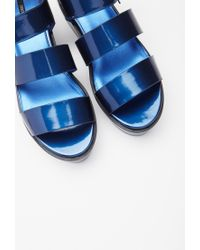 Forever 21 - Blue Faux Leather Flatform Sandals - Lyst