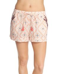 Lucky Brand | Pink Print Cotton Lounge Shorts | Lyst