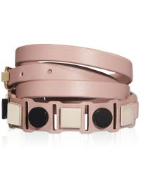 Tod's   Pink Bracelet In Leather And Metal   Lyst