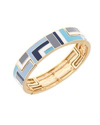 Anne Klein | Blue Enamel Stretch Bangle Bracelet | Lyst