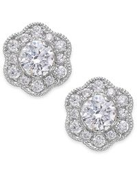 Marchesa | Metallic Fleur By Certified Diamond Flower Stud Earrings In 14k White Gold (1/2 Ct. T.w.) | Lyst